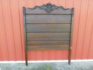 Antique Full Size Panel Bed With Headboard Sculpture