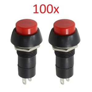 100x On off Pushbutton Switch Red Button 2 position Memory Place Holder 12v 250v