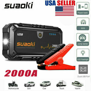 2000a Car Jump Starter Pack Booster Battery Charger Power Bank For 12v Car Boat