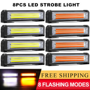 8x White Amber Led Emergency Warning Strobe Lights Bars Deck Dash Grill Truck