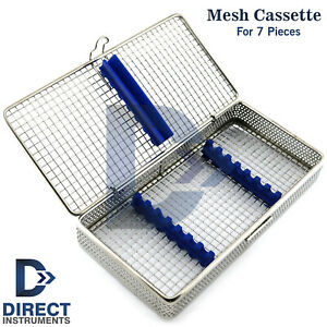 Dental Mesh Instruments Cassette Tray Rack For Holding 7pcs Scaler Sterilization