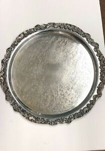 Vintage Large Heavy Silver Plated Serving Tray
