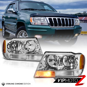 For 99 04 Jeep Grand Cherokee Wj clear Signal Bar Chrome Headlights Assembly