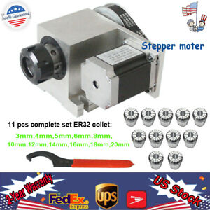 Hollow Shaft Rotary Cnc Router 4th Axis Rotational Axis 11pcs Er32 Collet 3 20mm