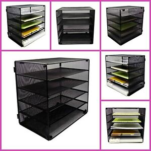Mesh Desk Organizer Paper Documents Stackable Letter Trays Office Supplies New
