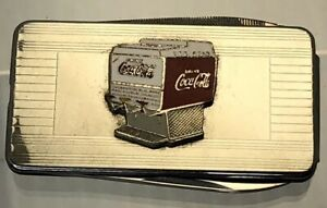 Vintage Coca Cola Coke Money Clip Pocket Knife Nail File Enamel Coke Machine