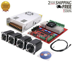 Mach3 Cnc 4 axis Kit stepper Motor Controller 4pcs Stepper Motor power Supply