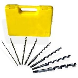 8 Pc Auger Wood Drill Bit Set 9 With Organizer Box 1 4 To 3 4 Tempered Steel