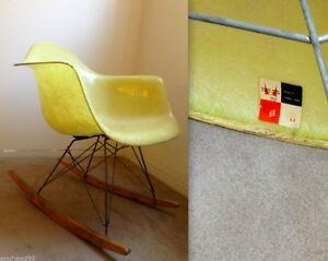Eames Rope Edge Lemon Yellow Rocking Chair Vintage Herman Miller Zenith Rocker