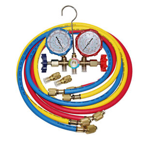 Hvac 59 R 410a Dual Manifold Gauges Set coded Charging Hoses Air Conditioner