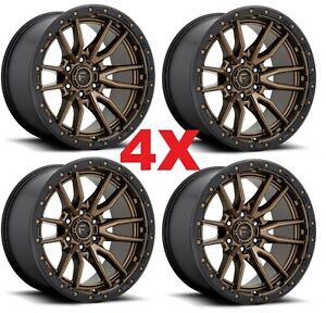17 17x9 Fuel Rebel D681 Wheels Rims Bronze Black Lip 6x139 7 6x5 5 4