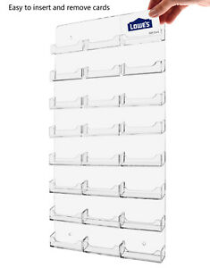 Business Gift Card Holder 24 Pocket Clear Acrylic Wall Mount Display Qty 24