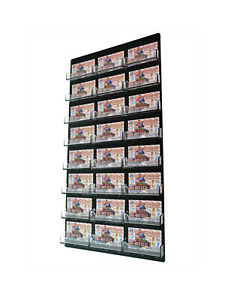 Business Gift Card Holder 24 Pocket Clear Black Wall Mount Display Qty 6
