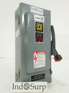 Square D 30amp Disconnect 240 V 3 Phase Single Throw Fusible With Solid Neutral