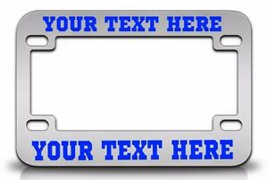 Custom Personalized metal Chrone Motorcycle License Plate Frame Blue Font
