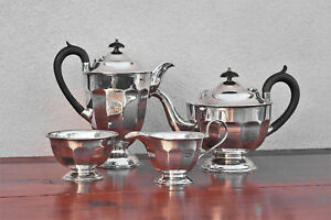 Sterling Silver 1933 1934 English 4 Piece Sheffield Tea Coffee Service