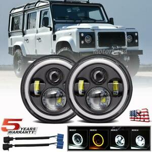 Pair 7 Inch Led Round Headlights Hi Lo Halo For Land Rover Defender 110 90 Rover