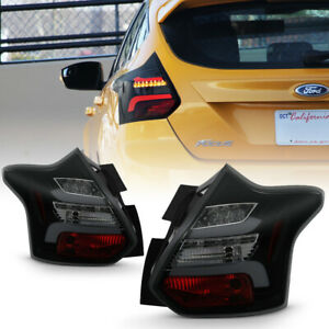 12 14 Ford Focus Hatchback Black Smoke Led Bar sequential Signal Tail Light