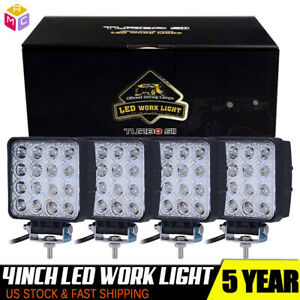 4pcs 27w Round Led Work Light Spot Offroad Bumper Driving Lamp For Suv Atv Truck