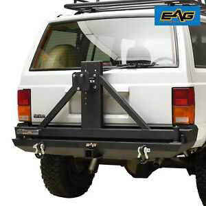 Eag Rear Bumper With Tire Carrier 2 Hitch Receiver Fit 84 01 Jeep Cherokee Xj