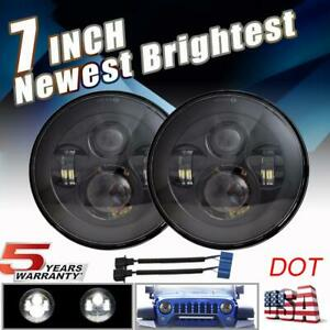 Pair 7 Inch Round Led Headlights Hi lo Beam Projector For Ford Mustang 1965 1978