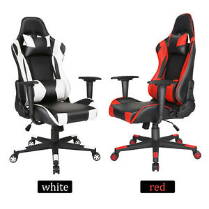 High Back Office Gaming Chair Pu Leather Reclining Executive Task Computer