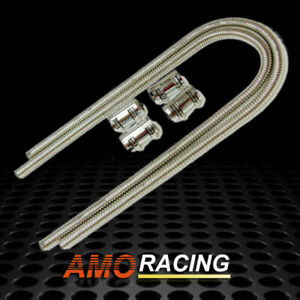 44 Chrome Stainless Steel Heater Radiator Hose Kit W 4 Caps Set Fit Universal