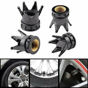 4pcs Black Chrome Tire Air Valve Caps Stem Cover Crown For Car Wheel Truck Parts