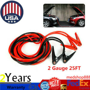 Heavy Duty Jumper Booster Cables Commercial Grade Battery 2gauge 25ft 800amp New