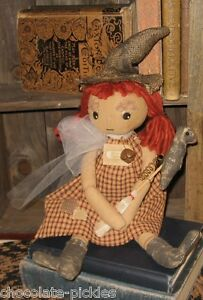 Fabric Witch Doll W Black Hat Crow Broom Bell Primitive Halloween Fall Decor New