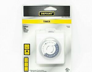 Defiant 15 Amp 24 hour Indoor Plug in Mechanical Big Button Timer White