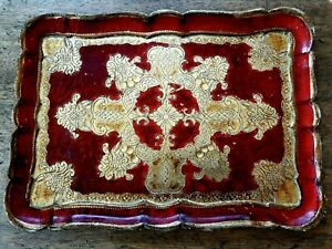 Vintage Italian Florentine Red And Gold Tray Hollywood Regency Italy 14 X 10 5