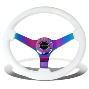 Nrg Reinforced 35cm 3 Deep Dish White Wood Grain Neochrome Spoke Steering Wheel