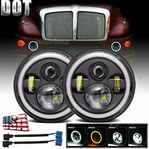 2x 7 Inch Round Projector Led Headlights Halo Hi lo For Kenworth T2000 1997 2011