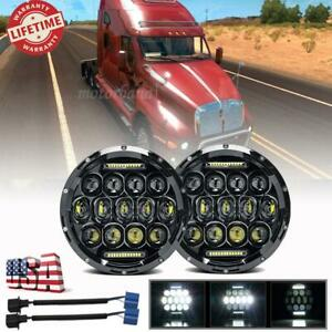 Pair 7 Inch Round Led Halo Headlights Projector Hi lo Black For Kenworth T2000