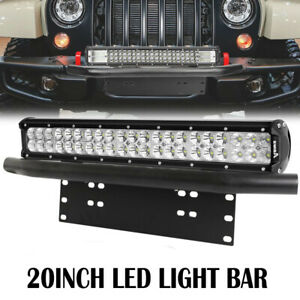20 126w Cree Led Light Bar 23 Bull Bar Front Bumper License Plate Brackets