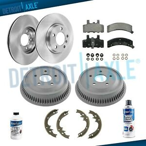 Front Disc Brake Rotors Rear Drums Shoe Kit For 1994 1999 Dodge Ram 1500 4wd