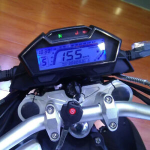 Motorcycle Lcd Digital Speedometer Tachometer Odometer Gauge 10000rpm