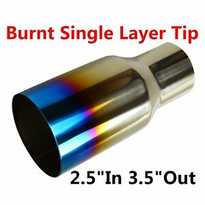 2 5 In 3 5 Out Blue Burnt Exhaust Single Tip Polished Stainless Steel