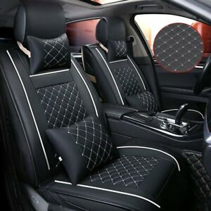 5 seats Suv Universal Pu Leather Front Rear Full Car Seat Cover Cushion Set