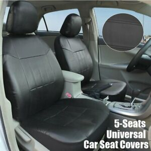 Black Universal Leather Seat Covers Set Fit For Auto Car Suv Trucks Front