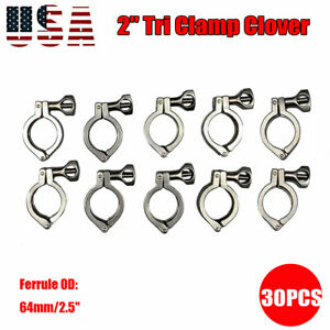2 Tri Clamp Clover Sanitary Fits 64mm Od Ferrule 304 Stainless Steel 30pack Us