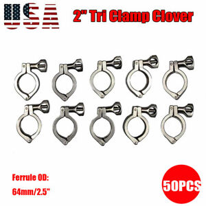 2 Tri Clamp Clover Sanitary Fits 64mm Od Ferrule 304 Stainless Steel 50pack Us