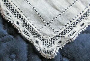 Antique Cotton Batiste Hanky Hand Made Valenciennes Lace Edging Drawnwork