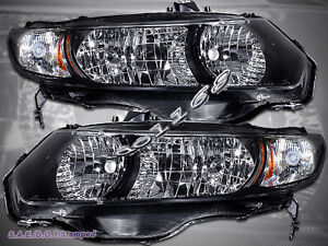 Fit For 06 11 Honda Civic 2dr Coupe Black Housing Headlights 2006 2011