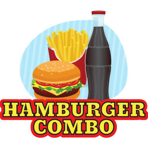 Hamburger Combo Concession Decal Sign Cart Trailer Stand Sticker Equipment