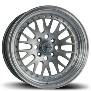 16x8 25 Avid 1 Av12 4x100 114 3 Silver Rims set Of 4