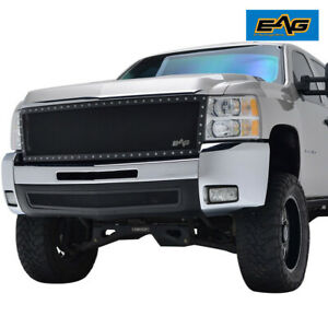 Eag Fit 07 10 Chevy Silverado 2500hd Rivet Grille Black Steel Mesh Replacement