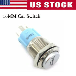 16mm Blue Led Momentary Push Button Metal Switch Car Boat Bell Horn Universal
