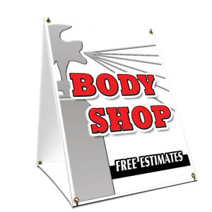 A frame Sidewalk Sign Body Shop Free Estimates Double Sided Graphics